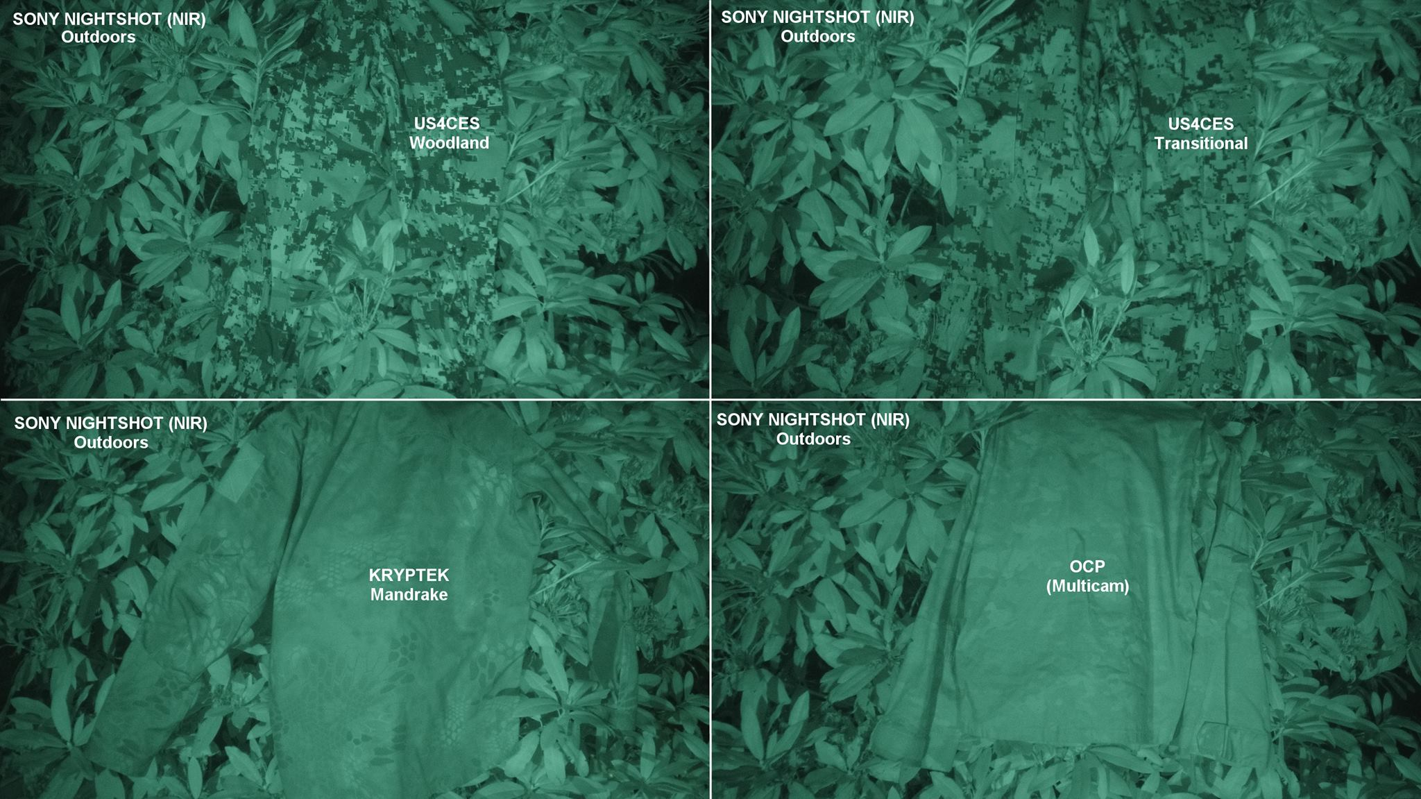d45bc6dccdba Night Vision Device comparison photos of US4CES and some of the U.S. Army  Phase IV camouflage patterns