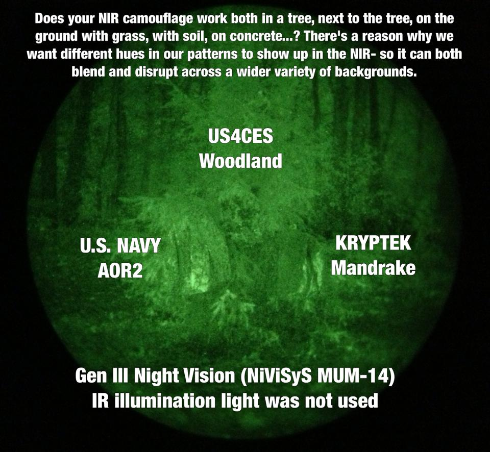 us4ces was shown in the lab testing to have color separation down to 2300 nanometers nm which is the far end of night vision goggles nvgs whereas